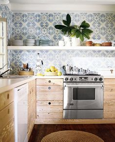 Blue pattern with white and natural wood Move Aside All-White Kitchens: This Natural Look is On Your Heels — 2018 Trend Radar