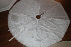 wedding dress into christmas tree skirt
