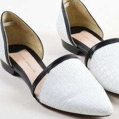 """HP DEREK LAM 10 CROSBY Pointed Flats 10 Crosby Derek Lam Action Too Embossed d'Orsay Flat, White/Black  SIZE 7.5 M  Black/white  NEW WITHOUT BOX  Last seen $375  Details Two-tone smooth and crocodile-embossed leather. d'Orsay vamp with front peekaboo cutouts. Pointed toe. Padded leather insole. Leather lining and sole. 3/4"""" stacked flat heel. """"Action Too"""" is made in Brazil. 10 Crosby Derek Lam Shoes Flats & Loafers"""