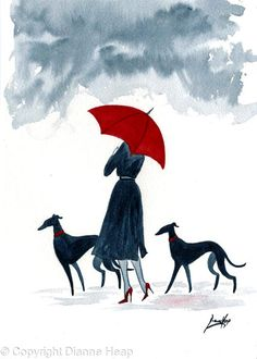 Walking the dogs on a rainy day Greyhound Art, Italian Greyhound, Painting & Drawing, Watercolor Paintings, Watercolors, Person Drawing, Funny Paintings, Whippet Dog, Lurcher
