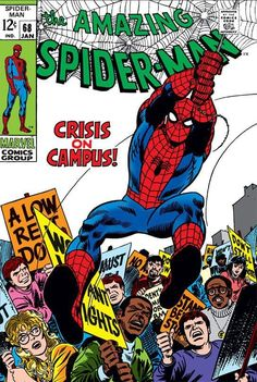 Drawing Man Art Print: Marvel Comics Retro: The Amazing Spider-Man Comic Book Cover Crisis on Campus (aged) : - Amazing Spiderman, Amazing Spider Man Comic, Spiderman Classic, Silver Age Comics, Marvel Comic Books, Comic Books Art, Comic Art, Gi Joe, Geeks