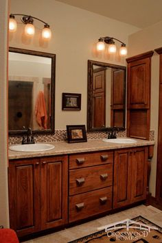 Double master vanity with built in storage allows for plenty of room to spread out in this Crosswood Homes Model. Woodland Park Colorado, Built In Storage, Basement Ideas, Rustic Style, Vanity, Homes, Mirror, Room, Furniture