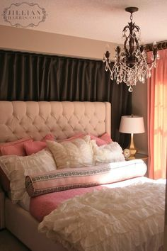 Suzie: Jillian Harris - Sweet gray  pink bedroom with black curtains framing ivory tufted bed. OMG IM IN LOVE. T___T