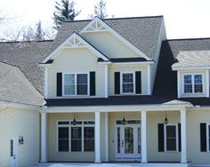 Beige Siding Black Shutters Black Roof Cottage Exterior Vinyl Siding House