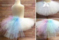CELESTIA TUTU SKIRT COSTUME w/ pastel rainbow bustle tail My adorable handmade Tutu Skirt with Pastel Rainbow bustle tail is a perfect costume for little pony party! The tutu skirt is 10 long with a stretchy waistband with an adjustable silk ribbon that ties in a cute bow in the Fiesta Little Pony, My Little Pony Party, Unicorn Halloween Costume, Halloween Sewing, Care Bear Costumes, Baby Costumes, Unicorn Birthday Parties, Unicorn Party, Kids Tutu