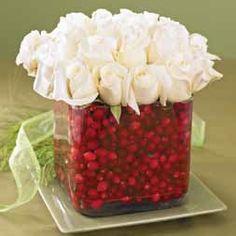 WHITE ROSE CRANBERRY VASE
