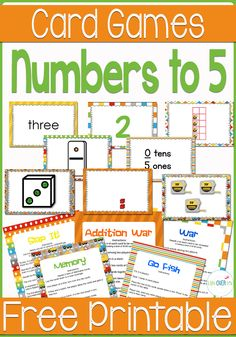 """7 super fun free printable card games using the numbers to 5 for matching, adding, subtracting, multiplying and much more! This includes the super popular Slap It! card game and """"War""""!"""
