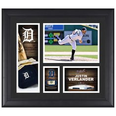 """Justin Verlander Detroit Tigers Fanatics Authentic Framed 15"""" x 17"""" Player Collage with a Piece of Game-Used Ball - $79.99"""