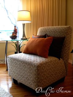 Vignette of the living room in a vacant property staged by DecoChic Interiors