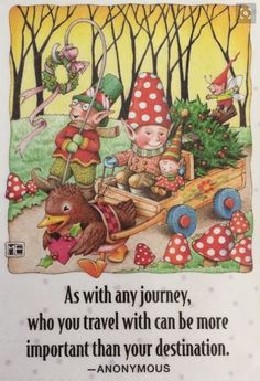 As With Any Journey-Handmade Magnets-Mary Engelbreit Artwork Swing Design, Vintage Christmas Images, Mini Vacation, Journey Quotes, Mary Engelbreit, Wise Quotes, Wise Sayings, Inspirational Quotes, Fairytale Art