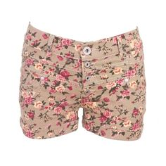 Micro Floral Denim Shorts ($29) ❤ liked on Polyvore