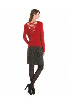 Cross open back sweater Holiday Looks, Holiday Style, Holiday Fashion, Red And Grey, Gift Ideas, Boutique, My Style, Clothing, Sweaters