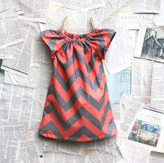 Coral and Gray Chevron Shift Dress // 6 months 10 door dandylionco