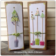 Whimsical Christmas Tree Gift Wrap - used wooden skewers for the trunks