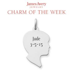 Celebrate a new or growing bundle of joy by engraving his birthday on our Boy Silhouette Charm. This charm is also available with a Girl Silhouette.  #JamesAvery