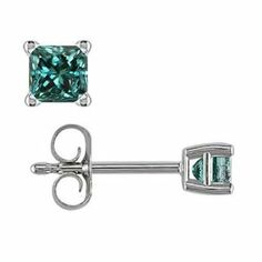 1 CT Princess Cut Blue Diamond Stud Earrings 14k White Gold FineDiamonds9. $999.99