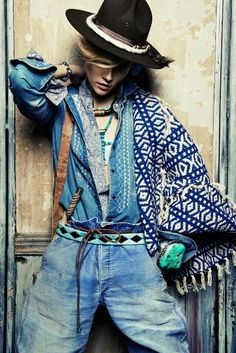 Kasia Struss layers double denim for Claudia & Stefan in the Aux portes de Cuzco shoot for Vogue Paris April 2013 Foto Fashion, Fashion Moda, Denim Fashion, Gypsy Fashion, Cowgirl Fashion, Paris Fashion, Bohemian Mode, Hippie Chic, Bohemian Style