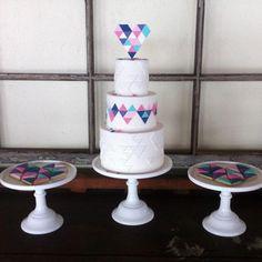 Geo Heart Wedding Cake