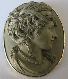 Stunning Museum Quality Carved 3D Lava Cameo Brooch Pin Demeter 14K Yellow Gold