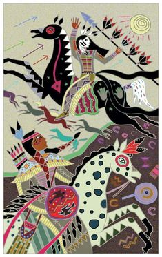"""Illustration by Caroline Smith, from Folktales of the Native American by Dee Brown. Smith says: """"Folktales of the Native American represents our collective past; these stories speak to our emotional and spiritual relationship with animals, nature and the environment, and they also have symbolic meanings that still resonate today. I have a deep fascination with symbolism and its connection with artists from early cultures. Notions of ceremonial magic, ritual, dance and dream are always…"""
