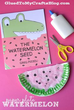 Paper Plate Watermelon {Kid Craft} Want excellent helpful hints concerning arts and crafts? Head to my amazing website! Paper Plate Crafts, Glue Crafts, Book Crafts, Paper Plates, Watermelon Activities, Watermelon Crafts, Watermelon Cupcakes, Fruit Crafts, Toddler Crafts