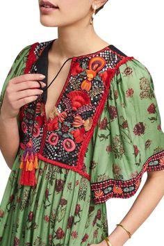 Green/Multicolor Anthropologie Basi Embroidered By Boho Large Long Casual Maxi Dress Size 12 (L) - Tradesy Ethnic Fashion, Boho Fashion, Fashion Outfits, Fashion Design, Korean Fashion, Fashion Tips, Hippie Style, Bohemian Style, Boho Chic