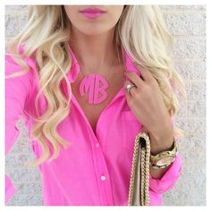 Pink monogram necklace