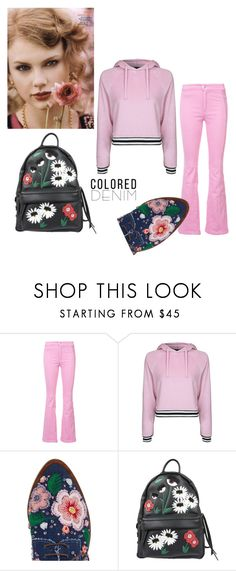 """""""COLORED DENIM"""" by ashleyyjames ❤ liked on Polyvore featuring Givenchy, Topshop, Anouki and Chiara Ferragni"""