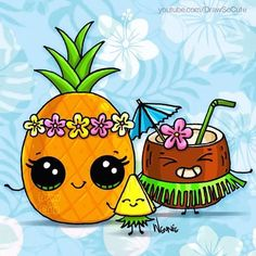 :D Aloha DSC fans! :) Enjoy some pineapples and coconut this Monday on YouTube.com/DrawSoCute #coconut #pineapple