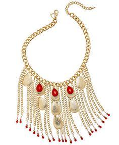 Thalia Sodi Gold-Tone Red Teardrop Fringe Frontal Necklace