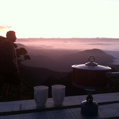 Good morning, coffee high above the cloud line, can't beat it #hiking #adventure