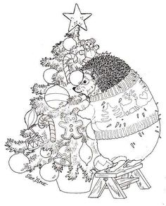 Hedgie Trims The Christmas Tree Jan Brett Coloring Pages