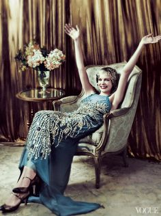"""Carey Mulligan (wearing a Miu Miu gown) in character as """"Daisy Buchanan"""" in """"The Great Gatsby"""" release) for Vogue May 2013 (photo credit: Mario Testino) Look Gatsby, Gatsby Style, Flapper Style, Gatsby Movie, Gran Gatsby, 1920s Flapper, 1920 Style, Gatsby Girl, Gatsby Theme"""