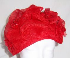 Red and Gold Sinamay fascinator Hat