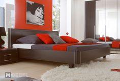 Moderní manželská postel v barvě wenge