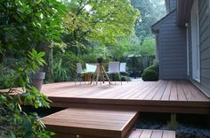 This is what a deck should look like. Low, sleek and blends into the surrounding landscape.