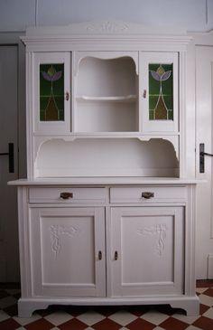 Küchenschrank Buffet antik Jugendstil Bleiglasfenster weiß, Transport ggf. mögl. in Antiquitäten & Kunst, Mobiliar & Interieur, Schränke | eBay