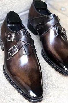 Mens Italian Dress Shoes, Men Dress, Gents Shoes, Gentleman Shoes, Gentleman Style, Double Monk Strap Shoes, Suede Leather Shoes, Soft Leather, Slip On Dress Shoes