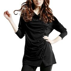 DJT Cowl Neck Button Embellished Ruched Long Sleeve Blouse Top Black S DJT http://www.amazon.com/dp/B00P7B1XCG/ref=cm_sw_r_pi_dp_GI7Cub06A542S