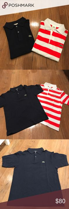 Bundle of two boys Lacoste polo's Two authentic Lacoste boys polo short sleeve great condition one is white blue and orange stripes and one is plain navy size 14 kids. Will sell separately small univalve mark on the stripped one but can be removed Lacoste Shirts & Tops Polos