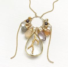 "30"" Gold Vermeil Bezel Set Clear Quartz and 22kt Heavy Plated Coral Branch Charm accented with Amethyst, Indian Moonstone, Citrine and Freshwater Pearl. No clas"
