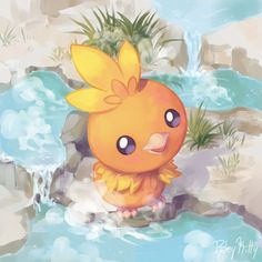It took me a little bit to think of a good non-domestic environment to put torchic in. This little guy is enjoying the hot springs of his native region, Hoenn. :D First Pokemon, All Pokemon, Pokemon Fan Art, Pokemon Eevee, Pokemon Stuff, Pokemon Images, Pokemon Pictures, Pokemon Painting, Pokemon Starters