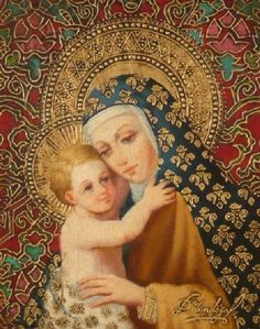 Madonna del Santissimo by Diana Mendoza. Diana Mendoza is known for her spiritual art that blends European and Peruvian techniques into a unique style by combining gold and silver leafing with oil on canvas. Blessed Mother Mary, Divine Mother, Blessed Virgin Mary, Religious Images, Religious Icons, Religious Art, Immaculée Conception, Images Of Mary, Mother Mary Images