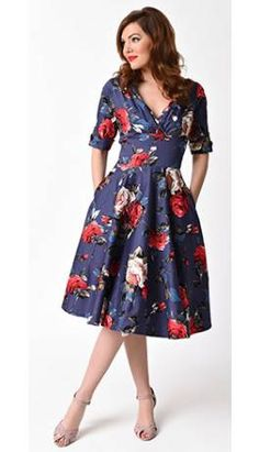 Unique Vintage 1950s Style Navy & Red Floral Delores Swing Dress