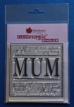 Woodware Clear Magic Mum Stamp for sale E Craft, Flower Quotes, Mothers Day Crafts, March, Stamp, Ebay, Floral Quotes, Stamps, Mac