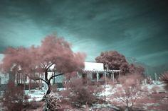 Museo de sitio Boca de Potrerillos. Mina, Nuevo León. Fotografía infrarroja con canales RGB invertidos.