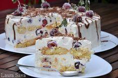 Tort de visine cu piscoturi   Retete culinare cu Laura Sava Romanian Desserts, Russian Desserts, Romanian Food, Romanian Recipes, Easy Food To Make, Cream Cake, Cakes And More, Cake Cookies, No Bake Cake