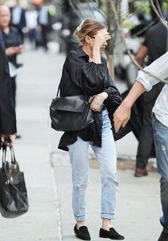black blouse + vintage denim