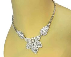 Check out Rhinestone Choker Necklace Fall Wedding Jewelry Bridal Jewelry Something old Victorian Necklace Silver Leaves Adjustable Choker on whywelovethepast