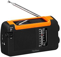 VonHaus Wind Up AM/FM Radio with USB Charger Cable - Solar Powered Energy Efficient Portable Camping Radio: Amazon.co.uk: Electronics